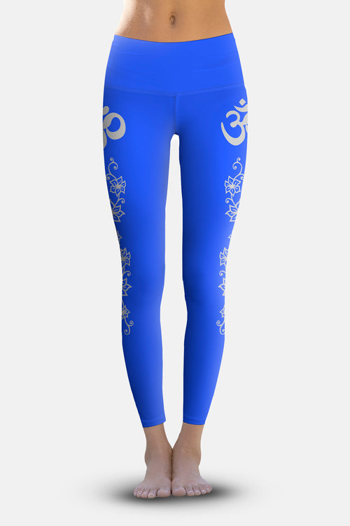 #Royal Silver Flowering Vines, Eco-Friendly Active Performance Leggings