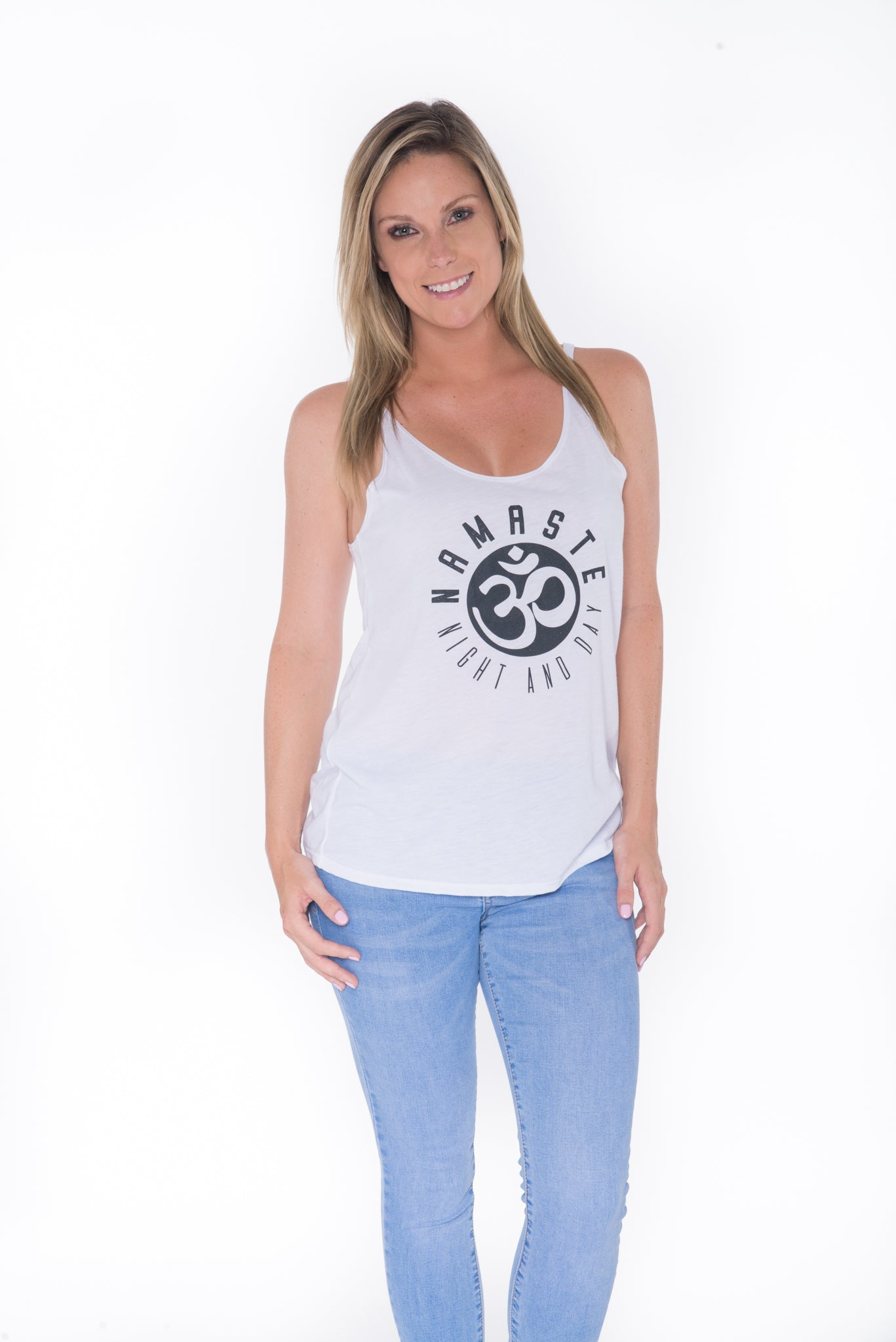 Namaste Night and Day Tank Top - White