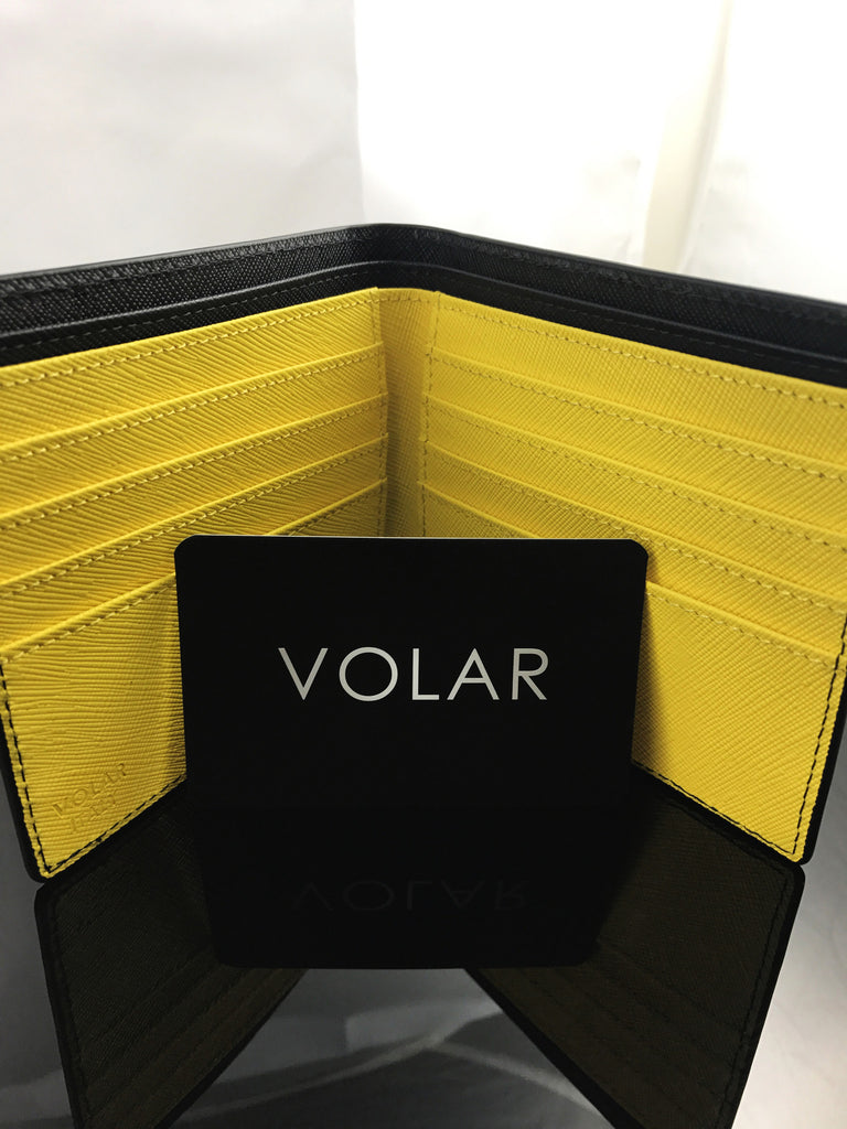 Giallo Modena Yellow Bi-fold wallet by Volar blends in perfectly with any casual or business outfit.
