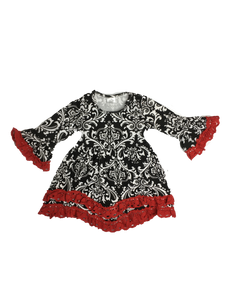Damask Dress Black/Red - La Bella Amore' Boutique