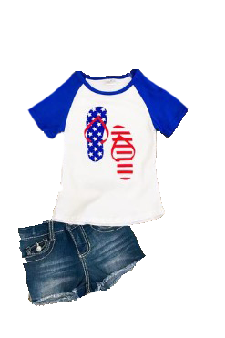 Red, White, and Blue Flip Flop T-Shirt - La Bella Amore' Boutique