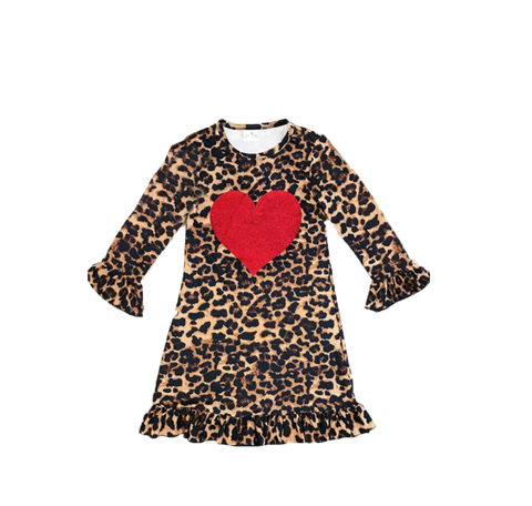 Cheetah Print Glitter Heart Dress - La Bella Amore' Boutique