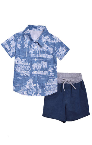 Tropical Shirt and Matching Shorts Set - La Bella Amore' Boutique