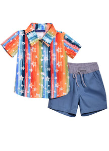 Boys Short Sleeve Stars & Stripes Shirt with Matching Shorts Set - La Bella Amore' Boutique