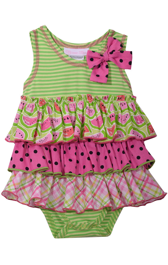 Watermelon Ruffle One-Piece Infant Outfit - La Bella Amore' Boutique