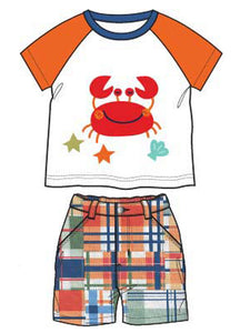 Boys Short Sleeve Crab Shirt with Matching Poplin Patch Print Shorts - La Bella Amore' Boutique