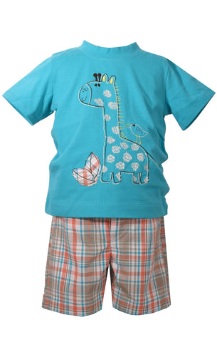 Infant Boys Safari Giraffe Plaid Shorts Set - La Bella Amore' Boutique