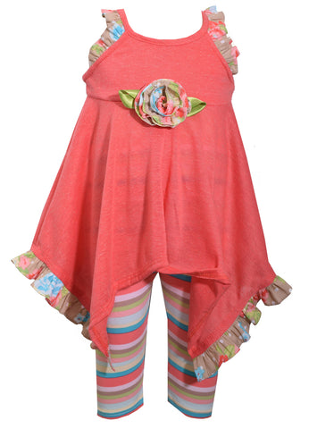 Coral Tunic Shirt and Striped Capri Set - La Bella Amore' Boutique