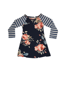 Navy Floral Stripe Dress - La Bella Amore' Boutique