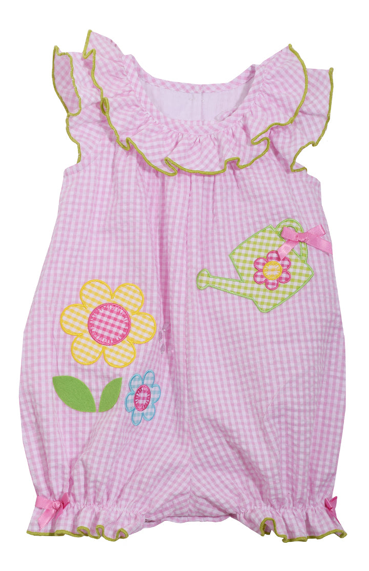 Infant Pink Seersucker Flower Romper - La Bella Amore' Boutique