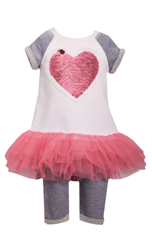 Infant Sequin Heart Tutu Shirt/Capri Pants Set - La Bella Amore' Boutique