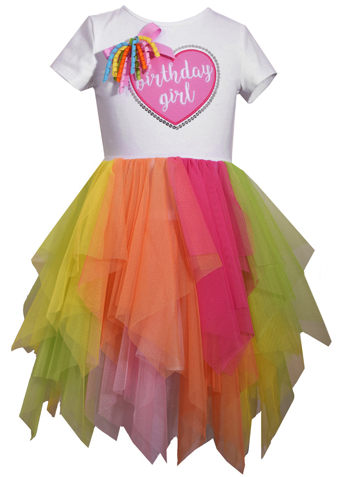 Girls Rainbow Tutu Birthday Dress - La Bella Amore' Boutique