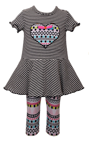 Girls Black and White Stripe Tunic Shirt with Matching Pants - La Bella Amore' Boutique