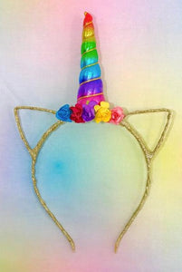 Metallic Rainbow Unicorn Headband - La Bella Amore' Boutique