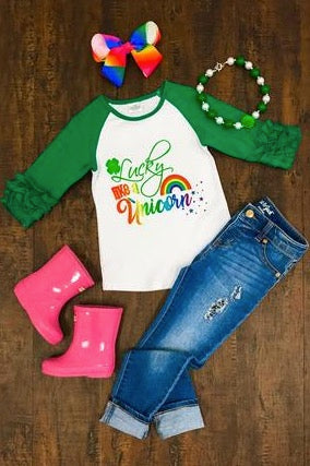 """Lucky Like a Unicorn"" T-Shirt (2T) & (3T) - La Bella Amore' Boutique"