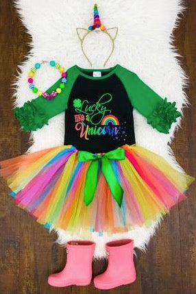 """Lucky Like a Unicorn"" Tutu Set - La Bella Amore' Boutique"
