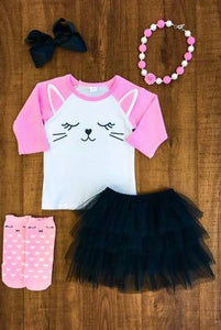 Pink Bunny Face Tutu Skirt Set - La Bella Amore' Boutique