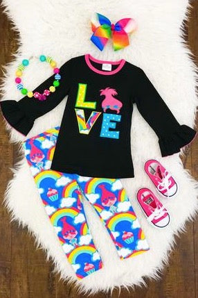 "Trolls ""Love"" Shirt and Pants Set - La Bella Amore' Boutique"