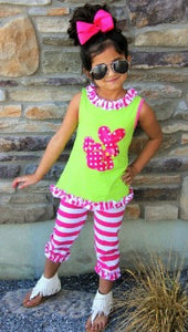 Hot Pink Bunny Stripe Capri Set - La Bella Amore' Boutique