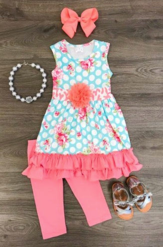 Pink Floral Ruffle Boutique Set - La Bella Amore' Boutique