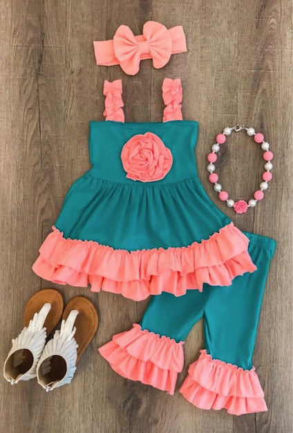 Teal and Coral Pink Ruffle Capri Set