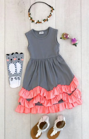 Coral Pink & Gray Sleeveless Ruffle Dress