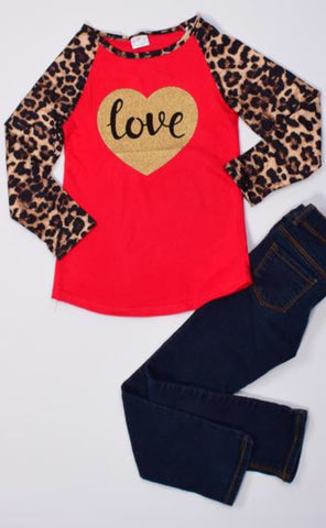 "Cheetah ""Love"" Shirt - La Bella Amore' Boutique"