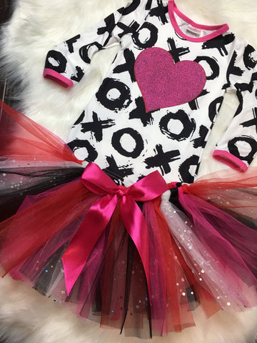 Hot Pink Glitter Heart Tutu Skirt Set - La Bella Amore' Boutique