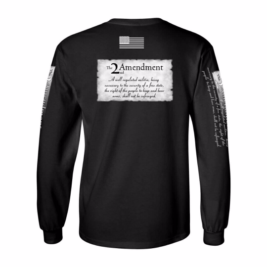 2nd Amendment Black Long Sleeved T-shirt 100% cotton