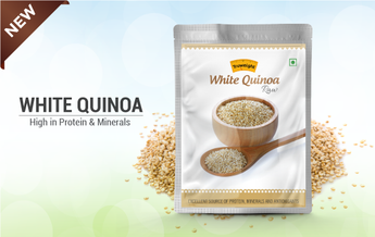 Raw white quinoa rich in amino acids