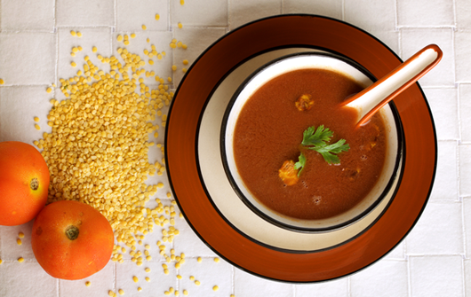 Tomato Moong Dal Soup is protein rich and low in calories.