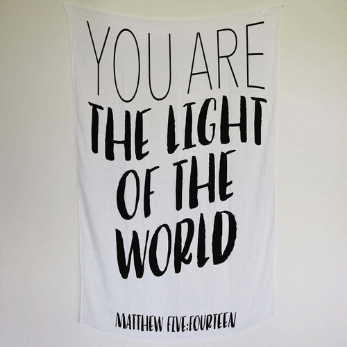 Muslin swaddle Blanket - You are the light of the world.