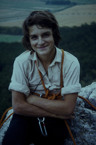 Walter Siebert climbing in 1972 with the equipment of the era.
