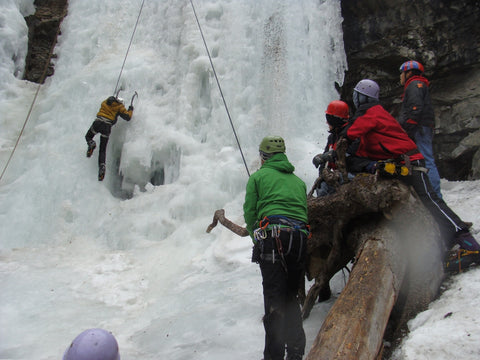 Loren belaying one of his students on an ice climbing field trip in the Beartooth Mountains, Montana. Photo: Austin Hart