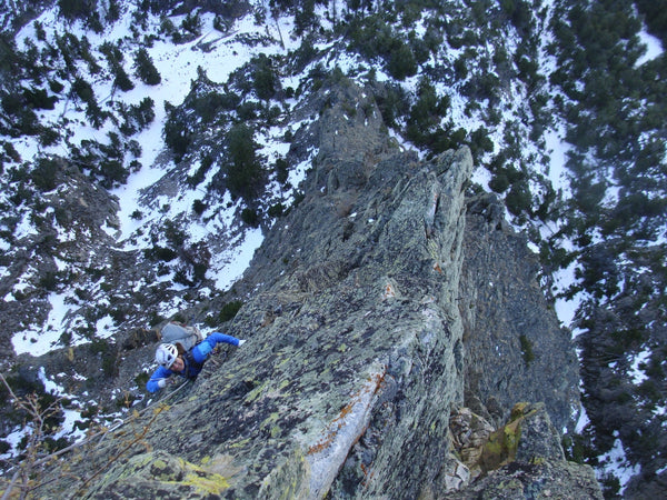 Bridget Belliveau climbing with Loren on Westminster Spire, Beartooth Mountains, Montana. Photo: Loren Rausch