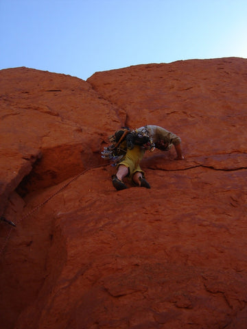 Loren leading on Middle Fin, Clark, WY. Photo: Rick Dvorak