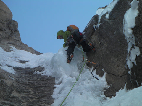 Loren leading on the Moose's Tooth the following year (2nd attempt). Photo: Kevin Volkening