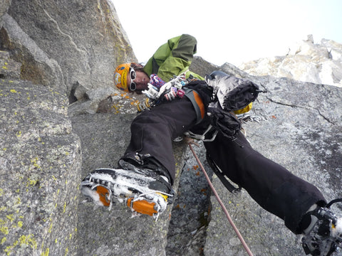 Loren leading on the first successful winter ascent of the Bear's Tooth Spire. Photo: Rusty Willis