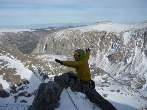 Loren at the top of the Bear's Tooth Spire. Photo: Rusty Willis