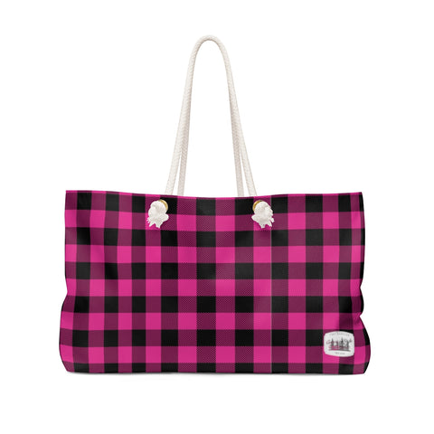 PINK & BLACK PLAID - Weekender Bag - American Style Clothing Company