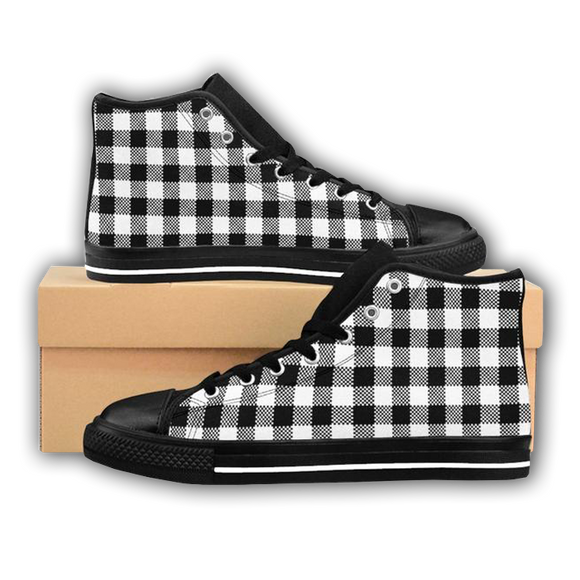 BLACK & WHITE PLAID - Women's High-top Sneakers
