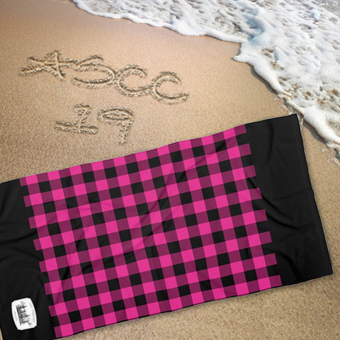 PINK & BLACK PLAID - Beach Towel - American Style Clothing Company