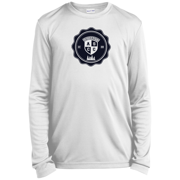 UNIVERSITY NAVY BLUE LOGO - Boys Youth LS Moisture-Wicking T-Shirt