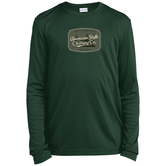 AMERICAN STYLE CLOTHING CO. LOGO - Youth LS Moisture-Wicking T-Shirt