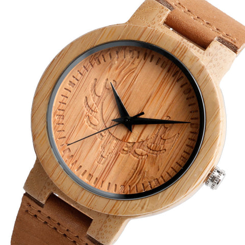 Wood Watch Stag Natural Bamboo Genuine Leather Band Strap