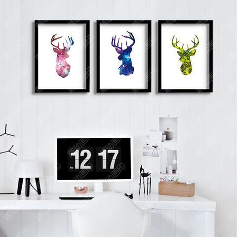 Nordic style deer head decorative wall painting Canvas Art Print