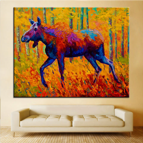 Large size Printing Oil Painting cow moose Wall painting