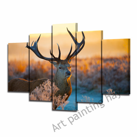 5 panel frameless pictures Red Stag painting printed on canvas.