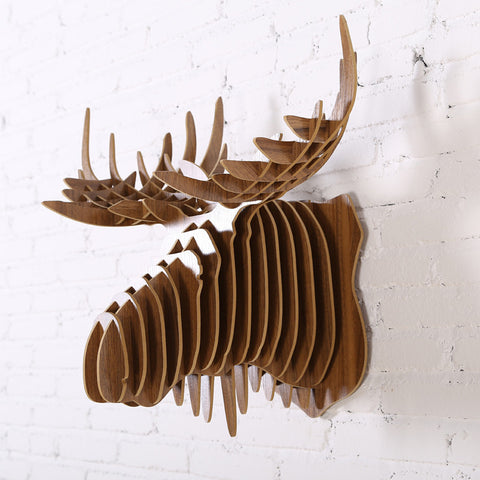 3D wood wall moose head DIY wooden craft modern design
