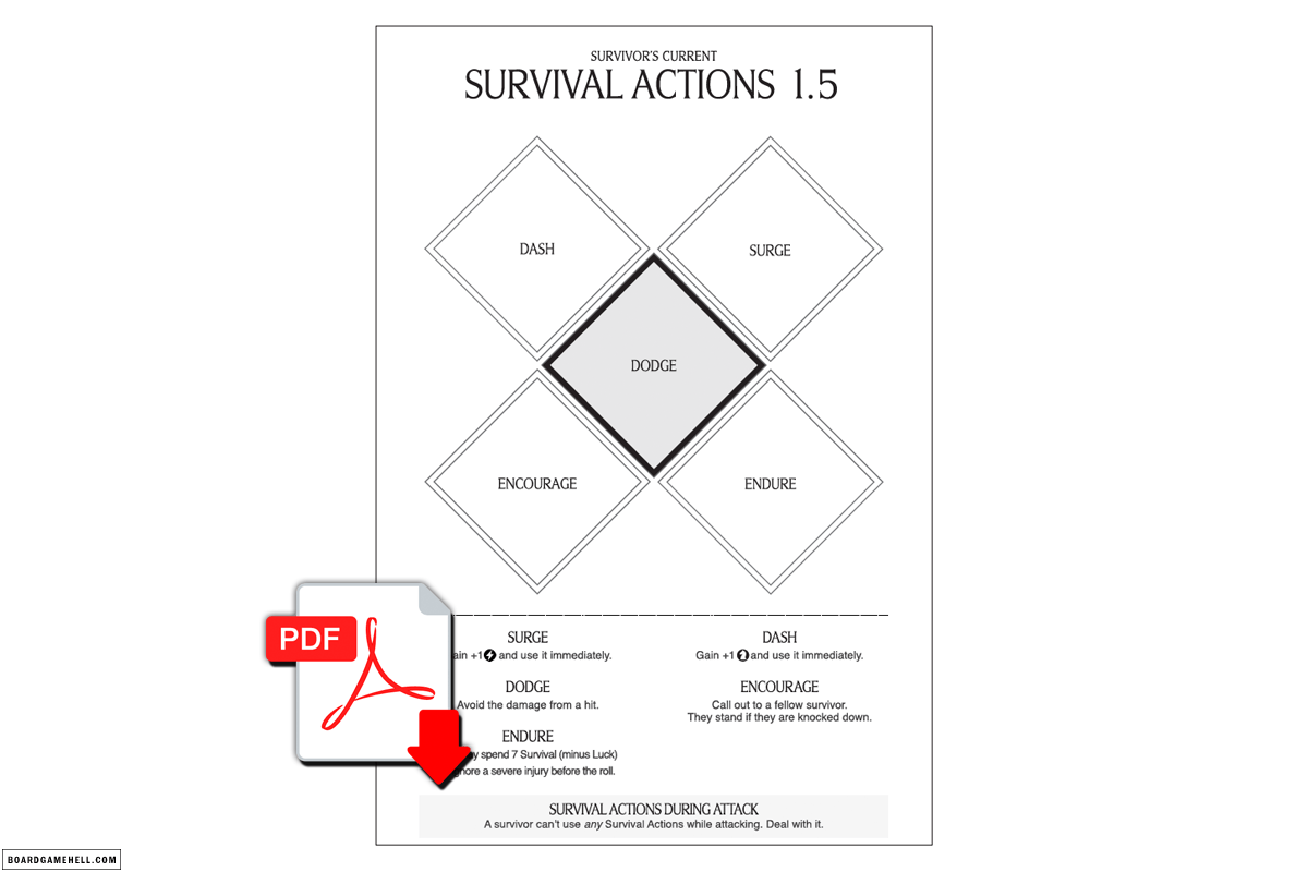 FREE PDF - Hobo's Survival Actions Sheet 1.5 for Kingdom Death: Monster